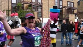 Susie Hewer running a marathon and knitting a scarf