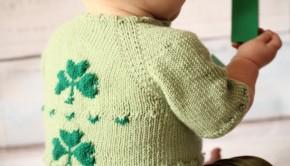 Free shamrock baby cardigan knitting pattern - download free on LoveKnitting